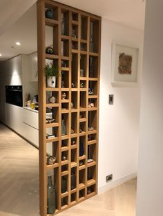 Geometric wall divider, solid American oak, design by Neroli Henderson. Living Room Partition Design, Living Room Divider, Room Divider Walls, Room Partition Designs, Living Room Decor, Wall Dividers, Living Room Designs, Room Partition Wall, Partition Ideas