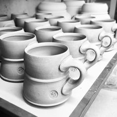 Prepping to fire the soda kiln next week #greenware #porcelain #mug #ceramics