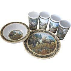 MotorHead Products Melamine 12 Piece Moose Dinnerware Set