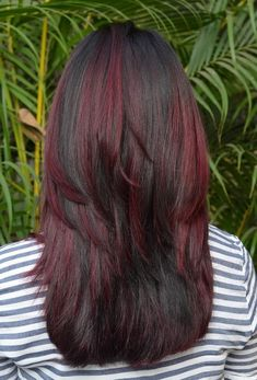 Long Dark Hair, Red Highlights, New Hair, Curls, Hair Styles, Hair Plait Styles, Hair Looks, Haircut Styles, Hairdos