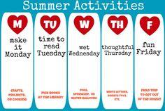 summer activities schedule