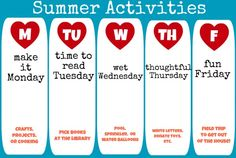 summer activities schedule