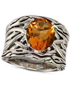 EFFY Collection Sterling Silver Ring, Citrine (4-1/10 ct. t.w.) Oval Weave Ring - SALE & CLEARANCE - Jewelry & Watches - Macys
