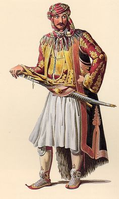 A 'başıbozuk' (irregular soldier of the Ottoman army). From the Balkans (Epirus or Albania). Late-ottoman, half of the century. This doesn't look a like a Bashi Bazouk but more like a normal Greek or Albanian male. Empire Ottoman, Ottoman Turks, Turkish Army, Armada, Arabian Nights, Historical Costume, North Africa, Military History, Middle Ages