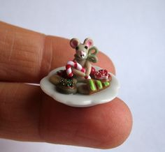 Handmade Miniature CHRISTMAS COOKIE PLATE & MOUSE -  by C. Rohal #CRohal