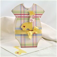 Adorable Baby Onesie Card...with satin ribbon & cutout giraffe.