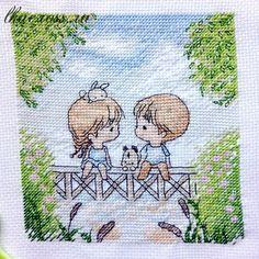 Схема для вышивки крестом. Cross stitch pattern. На мостике