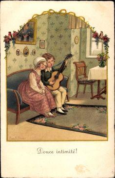 Artist Postcard Ebner, Pauli, Douce intimité, Ruhige Zweisamkeit, Paar, Gitarre