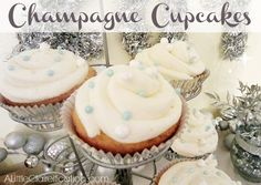 Delicious Champagne Cupcakes filled w/ Champagne Pastry Cream by ALittleClaireification.com #Holidays #recipes #NewYears