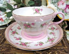 •.¸.•´ ` ❤☆.¸.☆ *❤•.¸.•´ `•.¸.•´ ` ❤☆.¸.☆ ..Shelley Tea Cup and Saucer Pretty in Pink with Pink Roses. $74.95•.¸.•´ ` ❤☆.¸.☆ *❤•.¸.•´ `•.¸.•´ ` ❤☆.¸.☆ ..