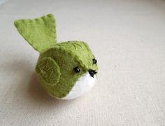 Embroidered Green Felt Bird. $14.00, via Etsy.