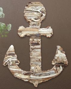 "Driftwood Anchor Wall Art.  Approximately 20"" x 26""."