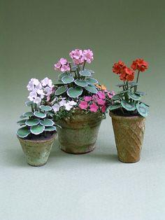 Geranium papier bloem Kit voor 1/12e schaal paardenmolentjes, bloemisten en miniatuur tuinen