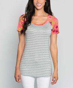 Look at this #zulilyfind! Coral & Gray Gabrielle Raglan Tunic #zulilyfinds