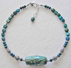 Elegant Necklace Features a Unique Chrysocolla Stone - pinned by pin4etsy.com