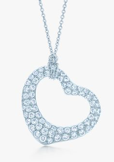 Tiffany Tip No. 13: Go straight for the heart. Elsa Peretti® Open Heart pendant in platinum with pavé diamonds.