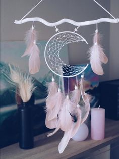 Moon dream catcher Wall hanging Room decor Dream catcher featuring a moon shaped frame with light pink tender feathers. You can choose the colour of the moon and stick, just contact me) Diy And Crafts, Crafts For Kids, Arts And Crafts, Dream Catcher Decor, Dream Catcher Mobile, Dream Catcher Boho, Moon Dreamcatcher, Creation Deco, Diy Art