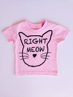 Kids Unisex Right Meow White Tee Tshirt Boys or by IndieNook
