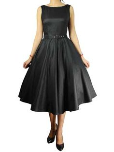 Hepburn Black 50's Rockabilly Swing Satin Dress