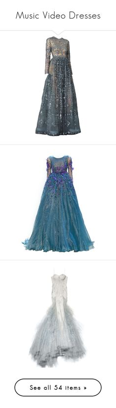 """""""Music Video Dresses"""" by infantilejoy ❤ liked on Polyvore featuring dresses, gowns, long dresses, vestidos, blue evening dresses, blue ball gown, blue long dress, blue color dress, blue dress and satinee"""