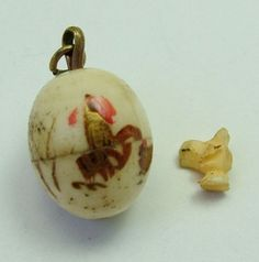 Edwardian Bone Egg Charm Opens to Tiny Chick Inside - Antique Charm - Sandy's Vintage Charms - 1