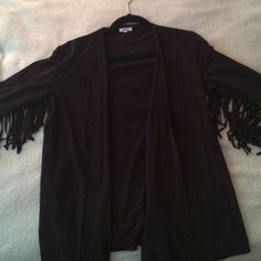 Suede fringe cardigan Never worn || size Small || no zippers or buttons Brandy Melville Jackets & Coats