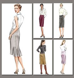 Semi-fitting, straight skirt, below mid-knee has front princess seams and side zipper. A, B: back vents. B: tab with button trim. C: back pleats. D: gored back and shaped hem. Vogue® Patterns V7937
