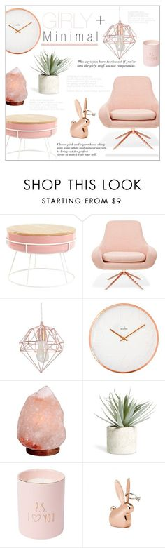"""Girly & Minimal"" by alexandrazeres on Polyvore featuring interior, interiors, interior design, home, home decor, interior decorating, Softline, Crystal Art, Allstate Floral and homedecor"