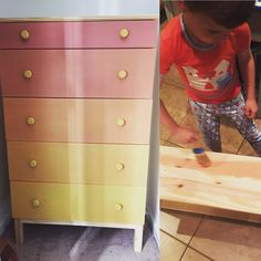 """Our 6yo shop elf swindled me into a paint project (telling me he really wanted to paint his dresser) then after two drawers were painted and the colors were mixed, he decided to go play.  It's a good thing he's cute (& that Chalk Paint® takes no time at all to dry) bc I quickly finished it myself. He chose mixes of Scandinavian Pink & English Yellow. I call it """"desert sunset."""" #verdigreen #vintage #montclair #chalkpaint #chalkpaintis25 #anniesloan #AnnieSloanStockist #ikeahack #sunset…"""