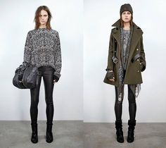 Zadig et Voltaire 2014-2015 Fall Autumn Winter Womens Lookbook Collection - Bomber Down Jacket Outerwear Quilted Jumpsuit Coveralls One Piece Onesie Transparent Peek-A-Boo Gloves Boots Beanie Knit Cap Sweater Jumper Jogging Sweatpants Shirt Blouson Leather Skinny Coat Scarf Camo Camouflage Cargo Pockets Blazer Shorts Loungewear Motorcycle Moto Rider Biker Skirt Pleats Miniskirt Skirt Frock Turtleneck Stripes Sweaterdress