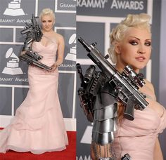 Up until Feb. 12, 2012, we had never heard of Sasha Gradiva. That night she showed up at the Grammy Awards in Los Angeles wearing a pink gown accessorized with a machine gun-themed arm piece. And you know what? It's likely we're always going to remember the name Sasha Gradiva.