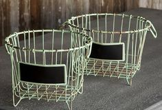 Baskets / A tisket, a tasket, everything in a basket! Vintage styled baskets perfect for your inspired storage needs. / by Antique Farmhouse Wire Egg Basket, Metal Baskets, Antique Farmhouse, Farmhouse Decor, Farmhouse Style, Chalkboard Labels, Chalkboard Ideas, Chalk It Up, Basket Shelves