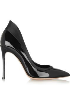 Gianvito Rossi|Satin-trimmed patent-leather pumps|NET-A-PORTER.COM
