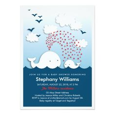 Cute White Whales Stylish Baby Shower Invitation Card