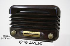 "Radio-Bakelite - 1938 Airline ""Model 93BR-421B"" table model brown midget  bakelite radio. Radio has original metal back."
