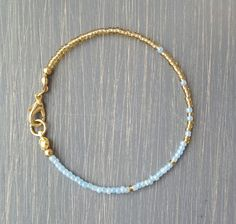 Simple + Stunning Seed Bead Friendship Bracelet // Gold + Pastel Blue Ombre // Stackable Bracelet // Customizable by PeachLeaves on Etsy