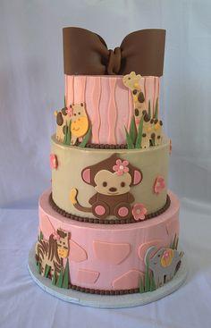 Jungle Baby Shower Cake (My Sweet Austin) Torta Baby Shower, Safari Baby Shower Cake, Safari Party, Safari Theme, Beautiful Cakes, Amazing Cakes, Fondant Cakes, Cupcake Cakes, Safari Cakes