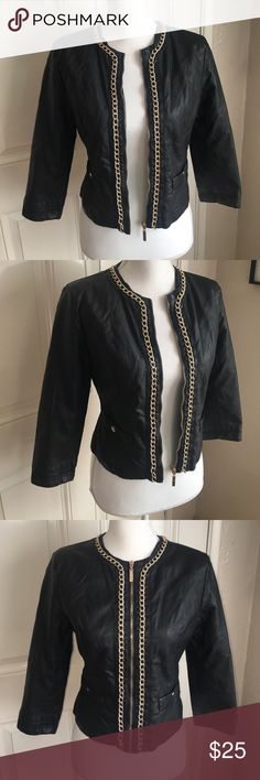 Faux Leather Crop Jacket with Gold Chain sz Med EUC F21 Black Faux Leather Crop Jacket with Gold Chain. 3/4 length sleeves. Size Medium. Forever 21 Jackets & Coats