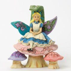 Jim Shore Disney Traditions Alice on Mushroom -- Alice in Wonderland Collection Jim Shore
