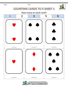 pre k worksheets counting cards to 5 1