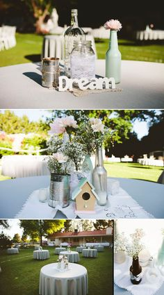 Vintage centerpieces - Loving the lace, the color vases, the bird house, and the blue and silver