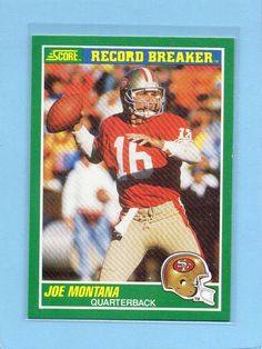 Joe Montana 1989 Score Record Breakers San Francisco 49ers Modern Original…