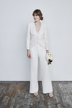 Celebrate refined and contemporary bridal wear. Discover your wedding day look at a retailer near you. White Wedding Suit, White Bridal, Wedding Suits, Wedding Gowns, Wedding Dress Styles, Bridal Dresses, Bridal Outfits, Savannah Miller, Bridal Jumpsuit