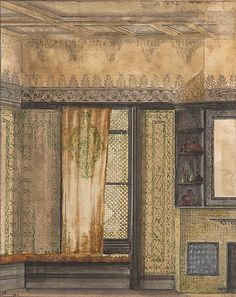 Aesthetic room interior with window and fireplace. Louis Comfort Tiffany, c.1883-87