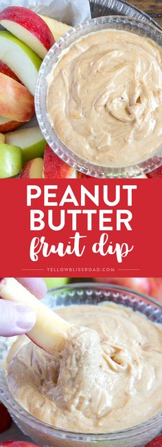 Creamy Peanut Butter Fruit Dip - Delicious, protein packed dessert dip that goes great with fresh fruit, pretzels, crackers and more. Kid friendly after school snack too. via @yellowblissroad