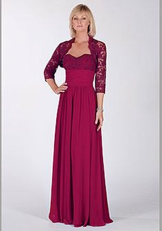 wrap a-line lace 3/4 length sleeve spaghetti straps chiffon mother of the bride dress