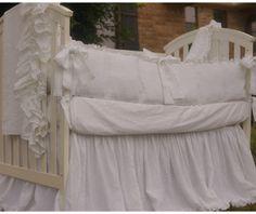 crib skirt linen dust ruffle adjustable by customlinenshandmade