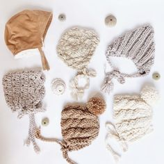 Neutral bonnets in all shapes and sizes! Hand made by Bluecorduroy.etsy.com . . . #babybonnets #knitbonnet #crochetbonnet #newbabygifts #handmadeforbaby #babygiftideas #bohobaby #babyhat #babyshop #bluecorduroyhats #bohobabyshower #babyhats #babymusthaves #babyessentials #babygifts #babystyle Baby Sun Hat, Baby Girl Hats, Knitted Baby Clothes, Knitted Hats, Knit Or Crochet, Easy Crochet, Baby Winter, Winter Hats, Stylish Hats