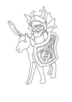 Coloriage Playmobil Chevalier
