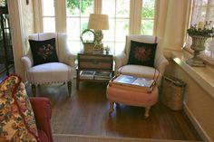 love the re-purposed items for the table  vignette design: Summer Showcase of Homes - Vignette Design